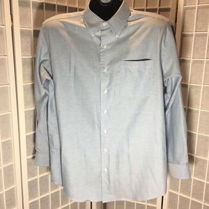 Nautica Mens Blue Button Down Dress Shirt Sz 16.5